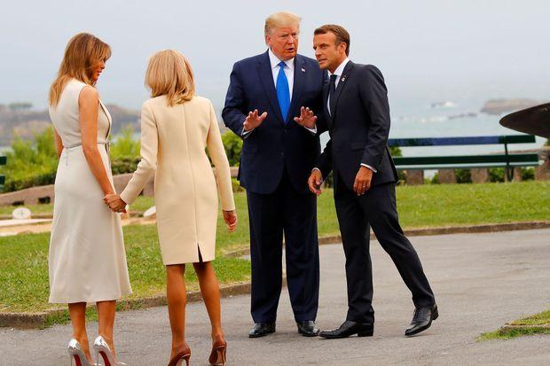 Les couples Trump et Macron samedi soir au phare de Biarritz.