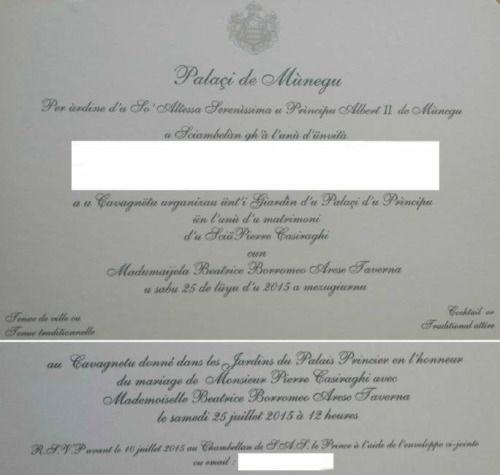 Le faire-part qu'ont reçu des invités du mariage civil à Monaco de Pierre Casiraghi et Beatrice Borromeo
