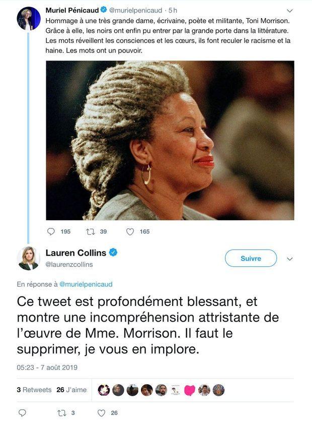 Le tweet de Muriel Pénicaud et la réponse adressée par la journaliste Lauren Collins.