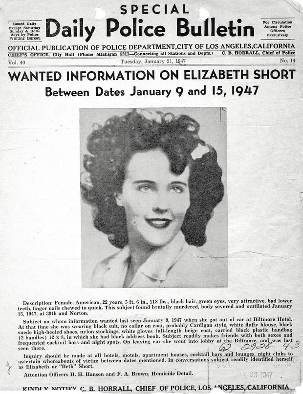 Une affiche de la police en quête d'informations sur la mort de d'Elizabeth Short.