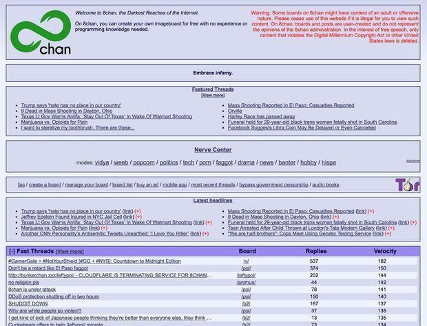 Une capture d'écran de la page d'accueil de 8chan, lundi matin.