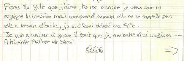 Exclu Match: Une partie de la lettre écrite par la mère de Fiona