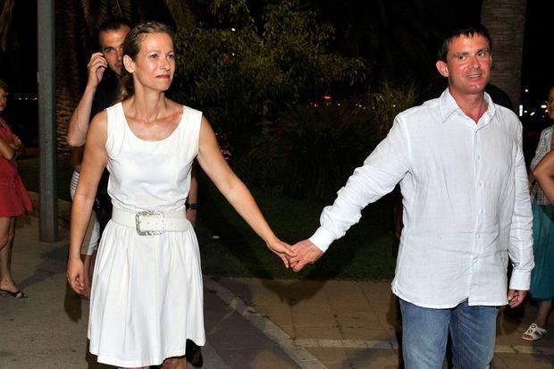 Manuel Valls et sa femme, après le concert.
