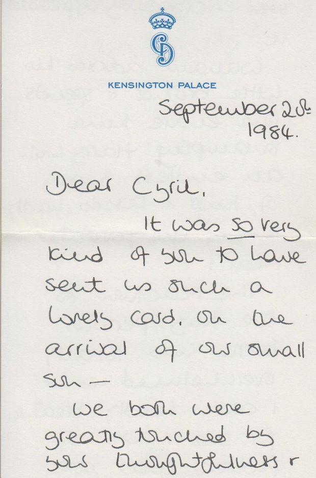Lettre écrite par Lady Diana, princesse de Galles, le 20 septembre 1984