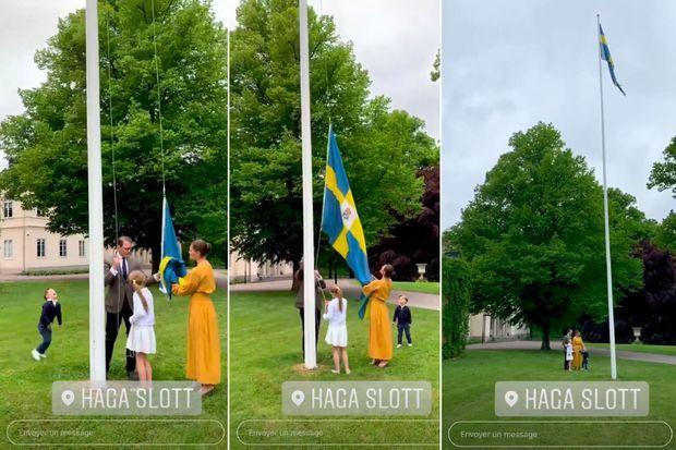 La princesse Victoria et le prince Daniel de Suède avec leurs enfants, le 6 juin 2020
