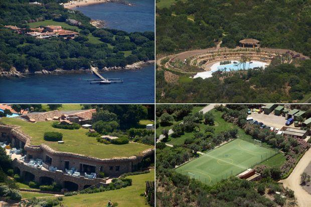 Vue sur mer, six piscines, terrain de football: la Villa Certosa occupe 80 hectares.