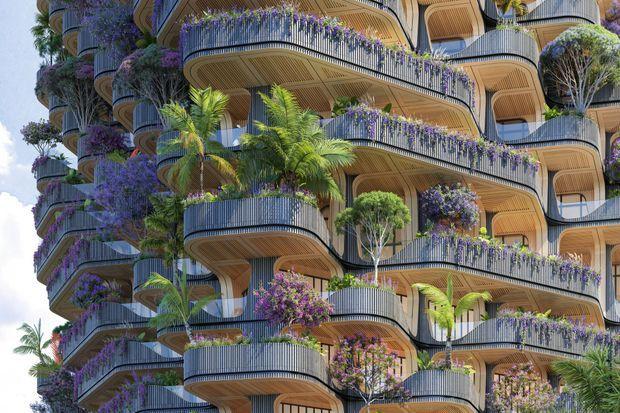 Aux Philippines, « L'Arbre arc-en-ciel », 30 000 plantes tropicales pour une tour en bois massif de 32 étages, pensé par Vincent Callebaut.