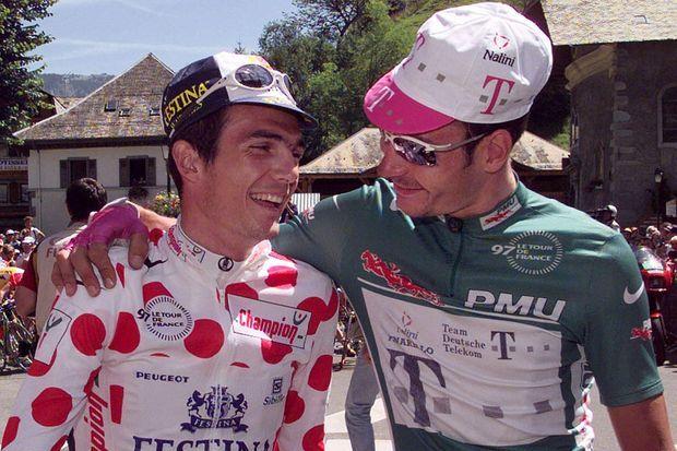Richard Virenque et Erik Zabel, maillot à pois et maillot vert du tour 1997