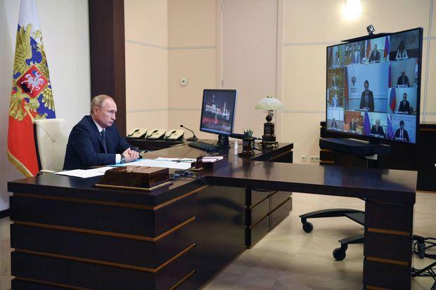 En visioconférence depuis sa résidence officielle Novo-Ogariovo, près de Moscou, le 11 août.