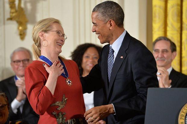 Meryl Streep et Barack Obama à Washington le 24 novembre 2014
