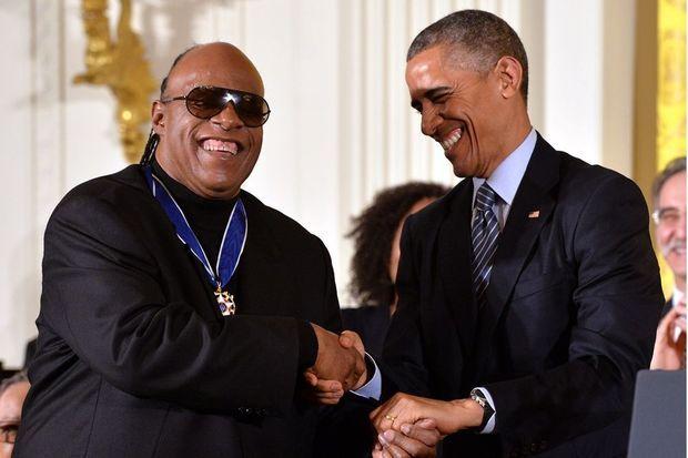 Stevie Wonder et Barack Obama à Washington le 24 novembre 2014