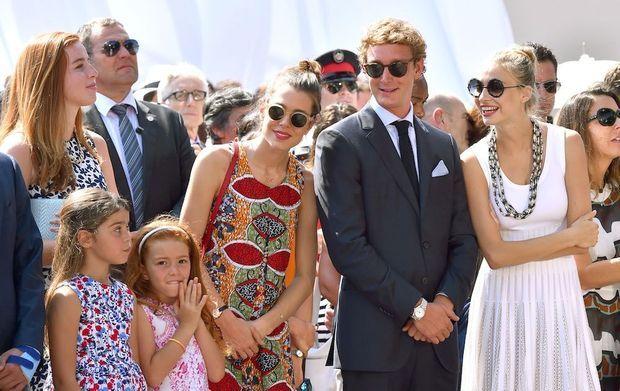 Charlotte et Andrea Casiraghi avec Beatrice Borromeo, le 11 juillet à Monaco.