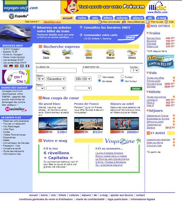 Le site Voyages-sncf en décembre 2001.