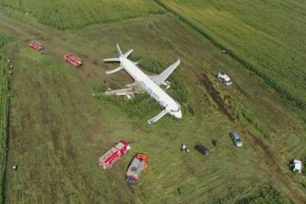 Vue depuis un drone de l'Airbus A321 qui s'est écrasé jeudi en Russie.