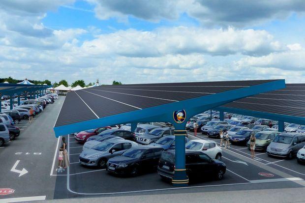 Vue d'artiste des panneaux solaires installés au-dessus du parking.