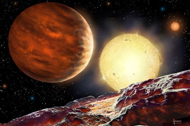 Ce à quoi pourrait ressembler la planète WASP-142b à côté d'une étoile.