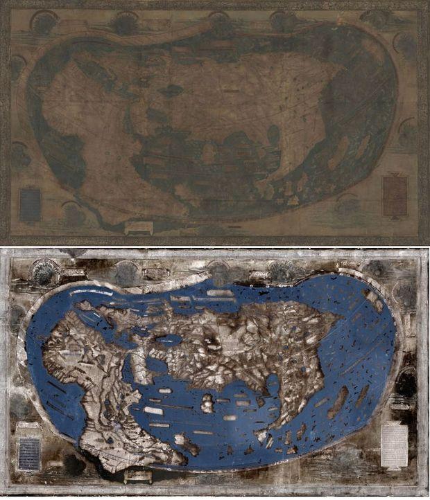 La carte de Martellus avant et après le travail de reconstitution.