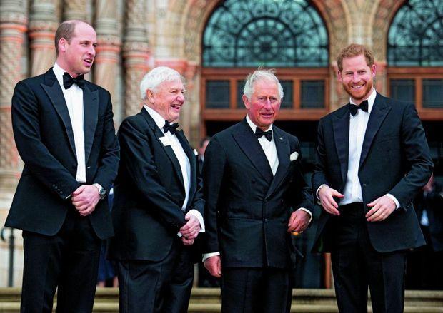 William, Charles et Harry, à Londres le 4 avril, avec sir David Attenborough à l'avant-première du documentaire « Notre planète », qu'il a réalisé