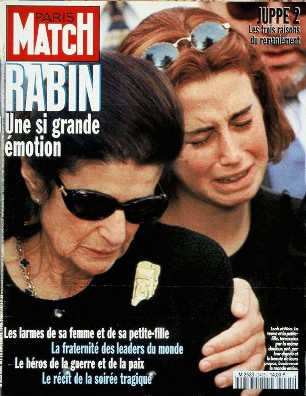 « Leah et Noa, la veuve et la petite-fille, terrassées par la même douleur, ont, par leur dignité et la beauté de leurs propos, bouleversé le monde entier » - Couverture de Paris Match n°2425, 16 novembre 1995