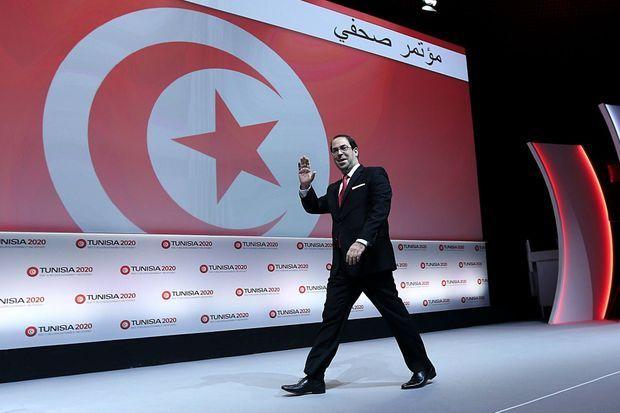 Le Premier ministre tunisien Youssef Chahed le 30 novembre 2016 à la clôture de Tunisia2020, l'événement organisé par le groupe Jeune Afrique