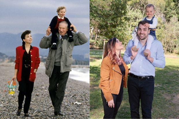 A g. : Yves Montand, Carole Amiel et Valentin, 2 ans, sur la plage d'Antibes en mars 1991. Le chanteur disparaîtra quelques mois plus tard. A d. : En famille à Montpellier. Son 1,93 mètre rappelle la haute silhouette de son père.