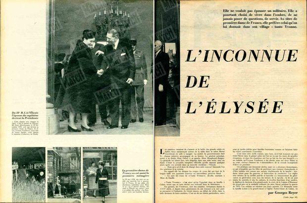"""""""Du 33e R.I à l'Élysée, l'épouse du capitaine devient la Présidente. « Cette maison sera demain la vôtre.» Sur le perron de l'Elysée, M. Coty raccompagne, le 23 décembre 1958, celle qui devient la première Dame de France. A 21 ans, Yvonne Vendroux, jeune fille de bonne famille, avait épousé le capitaine d'infanterie de Gaulle."""" - Paris Match n°512, 31 janvier 1959"""