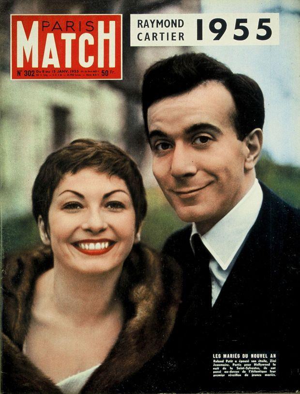 « Les mariés du nouvel an », Zizi Jeanmaire et Roland Petit en couverture de Paris Match n°302, 8 janvier 1955.