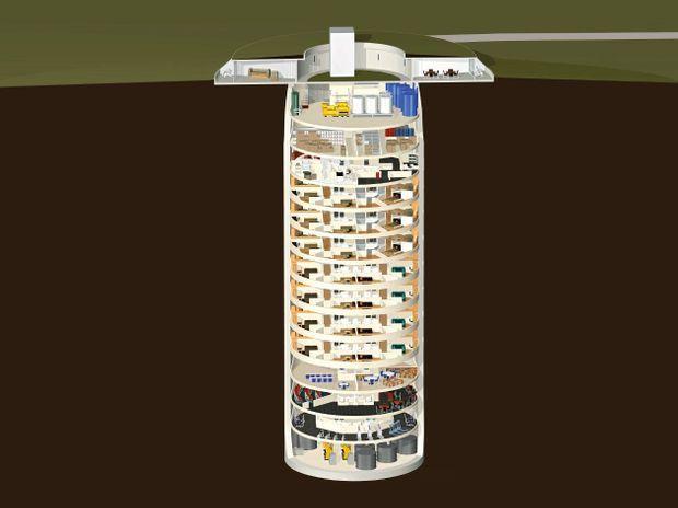 Le bunker s'enfonce à 53 mètres sous terre. La zone résidentielle s'étend sur sept niveaux. D'une superficie de 170 mètres carrés, chaque étage peut accueillir entre 6 et 10 personnes, dans un ou deux appartements. Chaque résident reçoit une réserve de cinq ans de nourriture lyophilisée et déshydratée