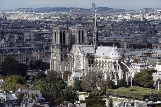 Notre-Dame-de-Paris, vue depuis le sommet de la tour de Jussieu, à Paris.
