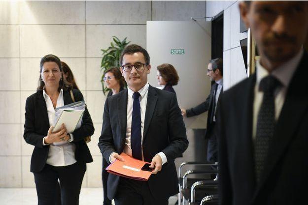 Gérald Darmanin le 28 septembre à Bercy. A gauche, la ministre de la Santé, Agnès Buzyn.