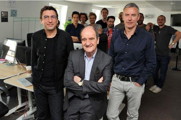 A la tête de Molotov.tv, Jean-David Blanc, Pierre Lescure et Jean-Marc Denoual (de g. à dr.).