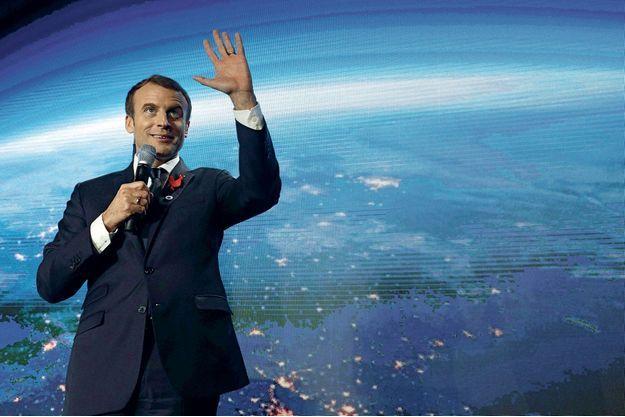 Emmanuel Macron à la Station F à Paris, lundi.