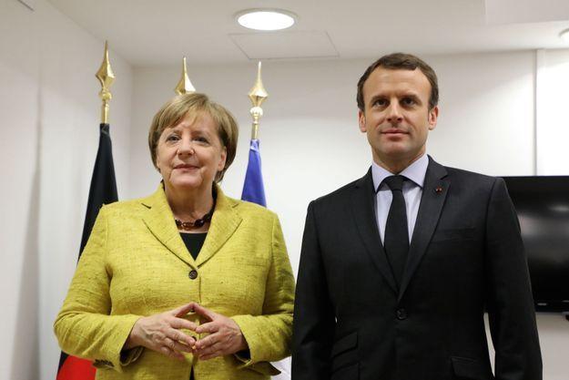 Angela Merkel et Emmanuel Macron lors du sommet de l'UE à Bruxelles.