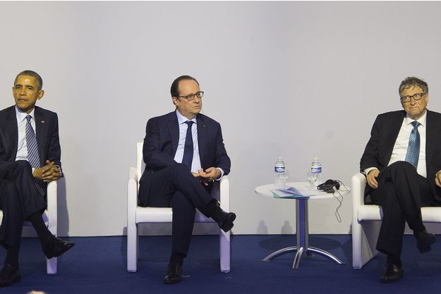 De gauche à droite, Barack Obama, François Hollande et Bill Gates. Tous trois à la COP21 pour discuter des énergies renouvelables.