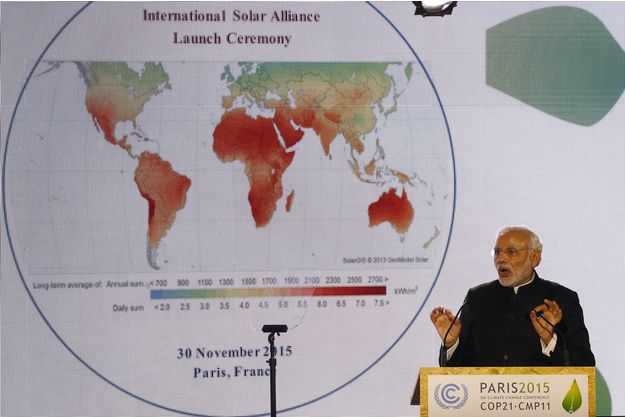 Le premier ministre Narendra Modi à l'initiative de l'Alliance solaire internationale.