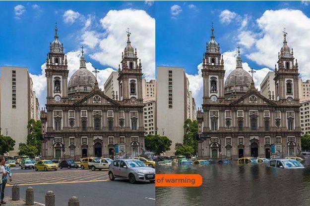 la ville de Rio sous l'effet de la montée des eaux.