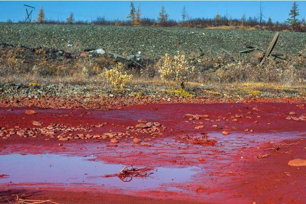 La rivière Daldykan a tourné au rouge