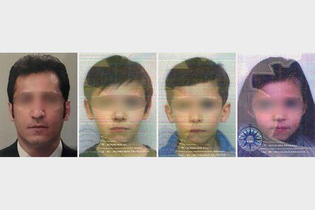 Les portraits du père et des trois enfants diffusés dans le cadre du dispositif alerte enlèvement.