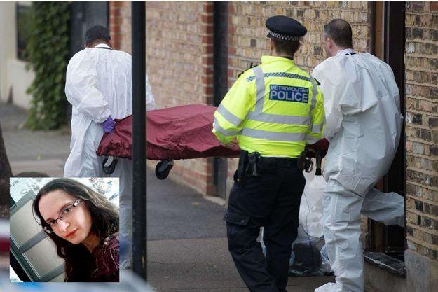 La police scientifique évacue le cadavre de Sophie (en médaillon), 21 ans, du domicile de ses employeurs, le 20 septembre 2017.