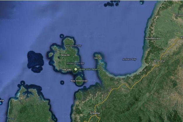 Une carte de l'île de Nosy Be, à Madagascar.