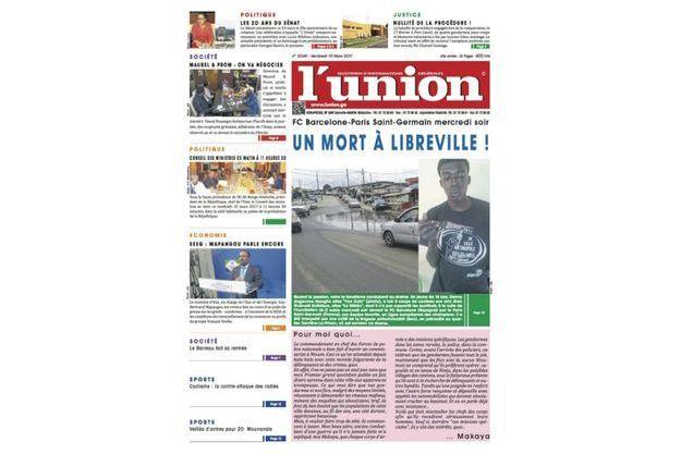 """La une du journal gabonais """"L'Union""""."""