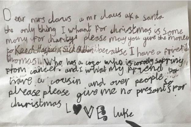 La lettre du petit Luke au Père Noël.