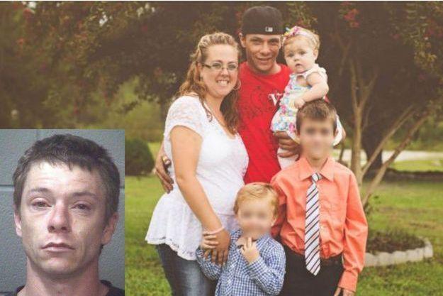 Earl Kimrey lors de son arrestation, Mariah Woods dans ses bras sur la seconde photo
