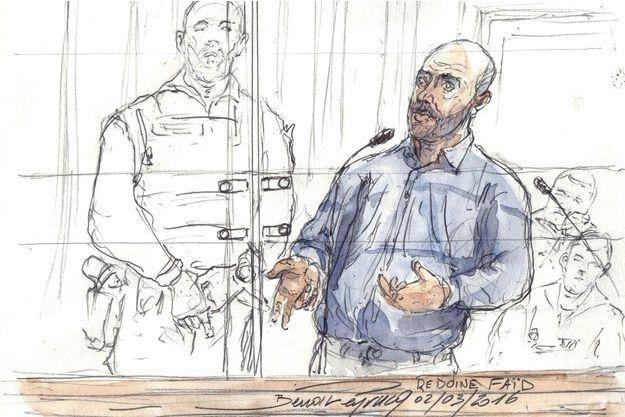 Redoine Faïd dessiné durant son précédent procès, le 2 mars 2016.