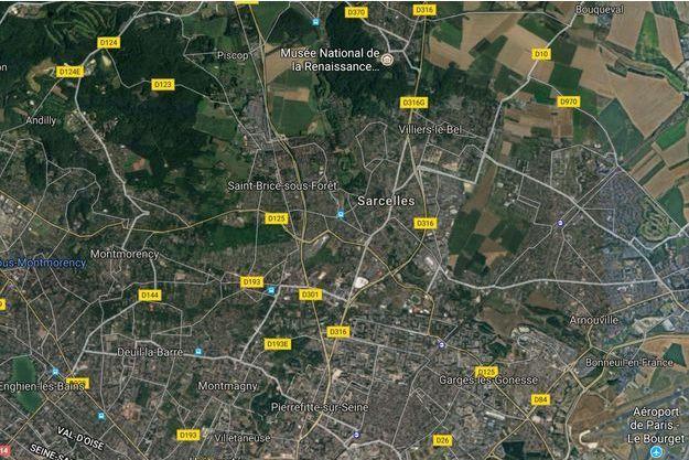 Vue satellite de Sarcelles.