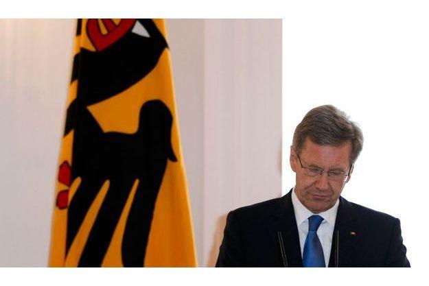Christian Wulff ce vendredi, lors de l'annonce de sa démission à Berlin.