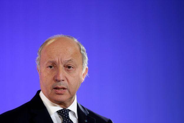 Laurent Fabius en conférence de presse samedi, lors de sa rencontre avec John Kerry à Paris.