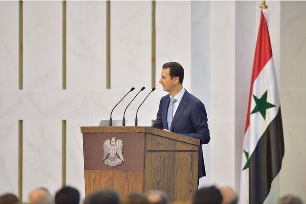 Bachar El-Assad lors de son discours dimanche à Damas.