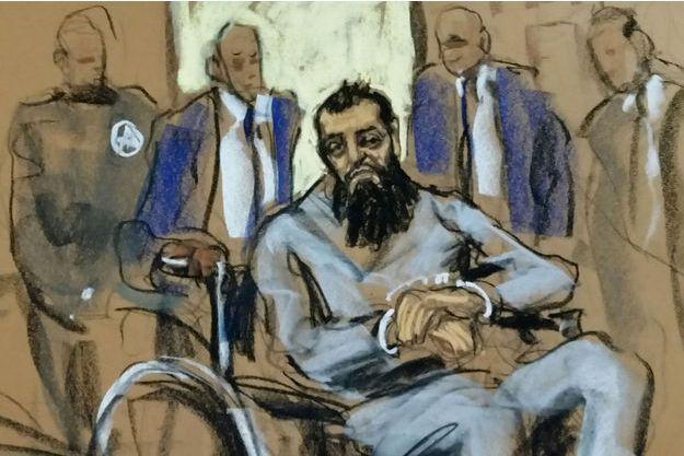 Sayfullo Saipov, en fauteuil roulant, devant la cour fédérale de Manhattan, mercredi. Les caméras n'étaient pas autorisées.