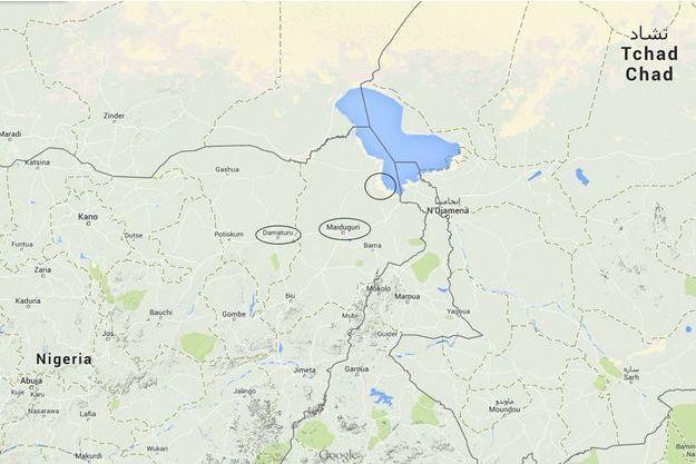 Encerclées sur la carte, les villes de Maiduguri, Baga et Damaturu